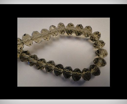 Faceted Glass Beads-12mm-Smokey-Quartz