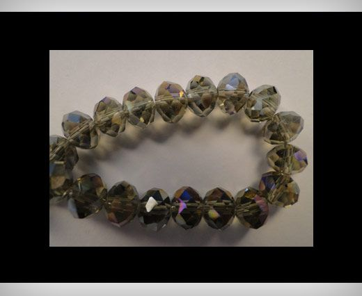 Faceted Glass Beads-12mm-Smokey-Quartz-AB