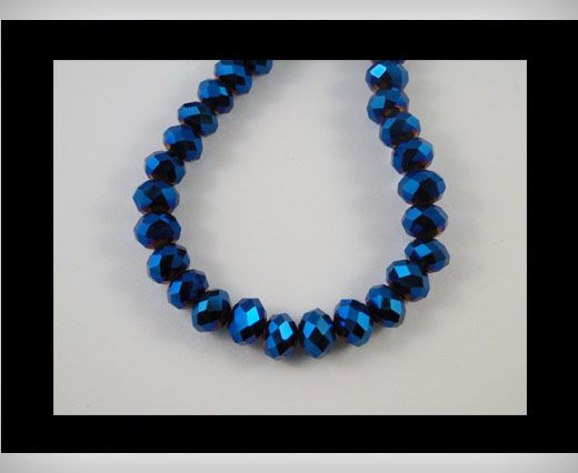 Faceted Glass Beads-18mm-Metallic blue