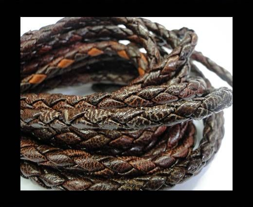 Fine Braided Nappa Leather Cords-4mm-VANDYKE BROWN