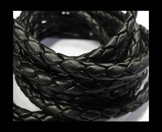 Fine Braided Nappa Leather Cords-6mm-BLACK