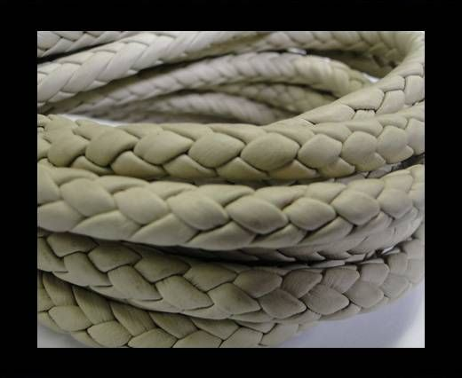 Fine Braided Nappa Leather Cords-8mm-CREAM