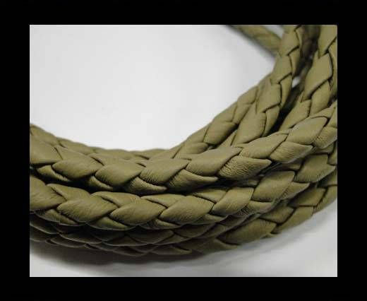 Fine Braided Nappa Leather Cords  - olive -6mm