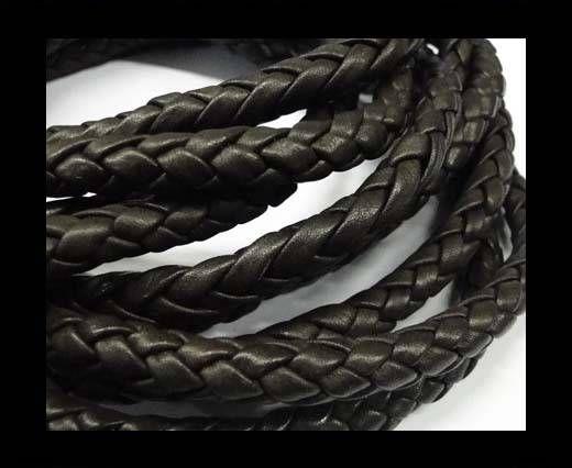 Fine Braided Nappa Leather Cords  - dark brown-8mm