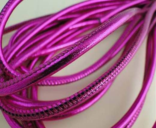 Round stitched nappa leather cord Neon Fuchsia-4mm