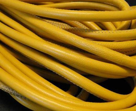 Round stitched nappa leather cord Yellow-4mm