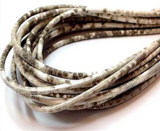 Round stitched nappa leather cord  4mm Python Beige