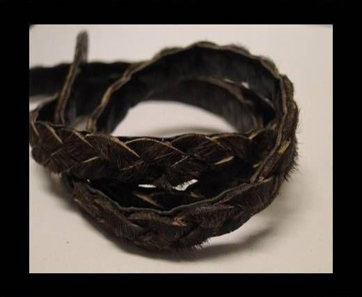 Braided Round Hair-on Leather-Dark Brown-5mm