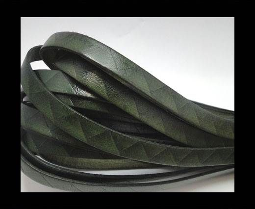 Flat Italian Leather- Stripes -10mm- Dark Green