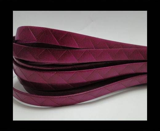 Flat Italian Leather- Stripes -10mm- Fucsia
