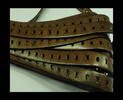 Flat Leather Cords With Square Holes-10mm-Brown