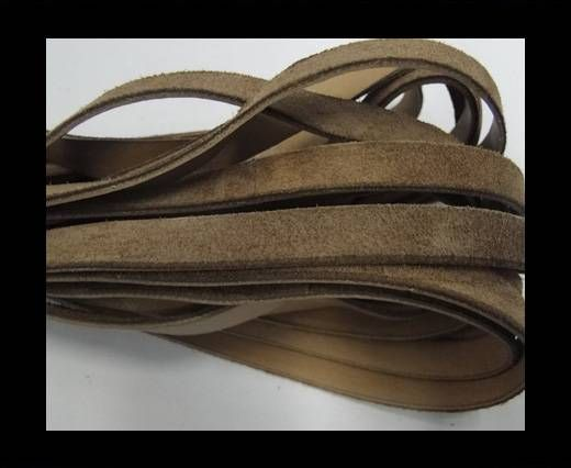 Flat Leather Cord Suede -10mm-Brown