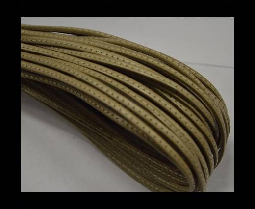 Flat leather with stitch - 3 mm - Beige