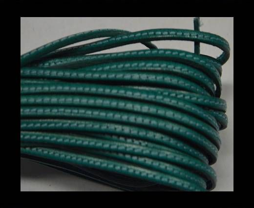 Flat leather with stitch - 3 mm - Turquoise