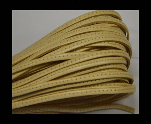 Flat leather with stitch - 3 mm - Cream