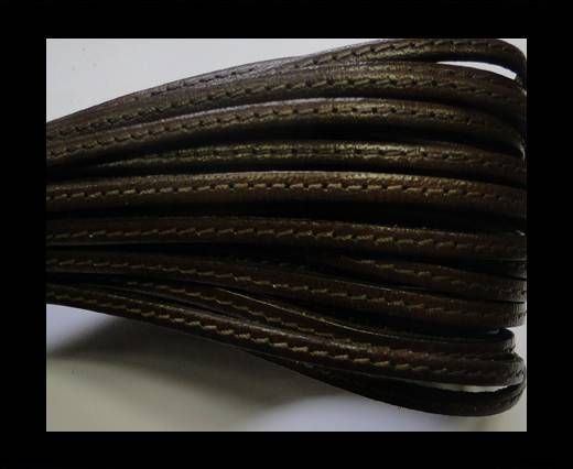 Flat leather with stitch - 3 mm - bruciato