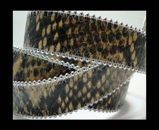 Flat Nappa Leather with Chains - 20mm - Python Senape