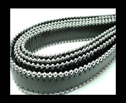 Flat Nappa Leather with Chains - 14mm -  Dark Grey