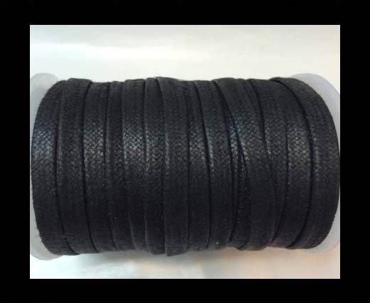 Flat Wax Cotton Cords - 5mm  - Black