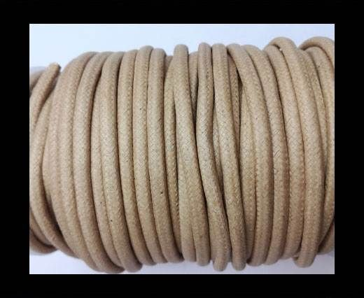 Round Wax Cotton Cords - 4mm - Natural