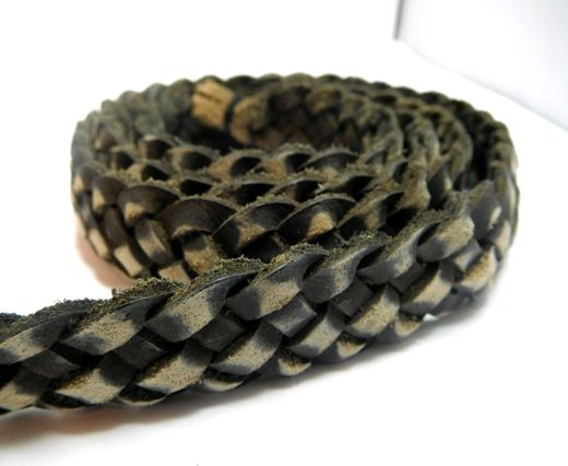 Flat braided cord - 20mm by 4mm - Vintage Gray