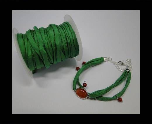 Habotai silk cords - Bottle Green