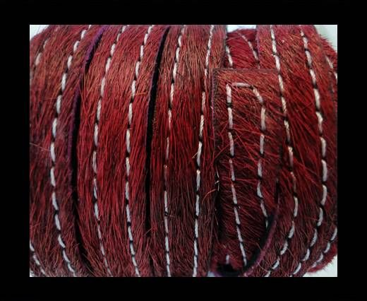 Hair-On Leather with Stitch-Maroon-10mm