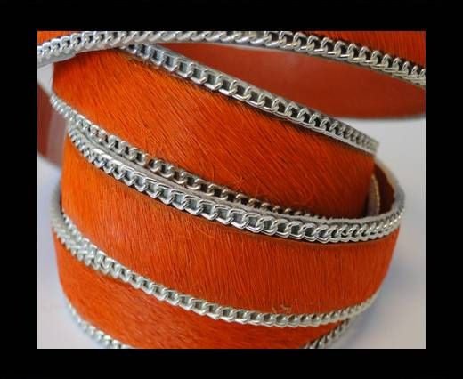 Hair-on leather with Chain-Orange-14mm