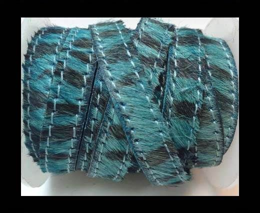 Hair-On-Flat Leather-zebra turquoise with stitches-10MM