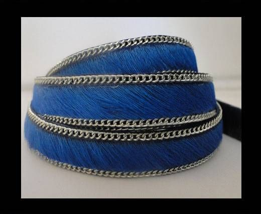 Hair-on leather with Chain-Dark Blue-14mm