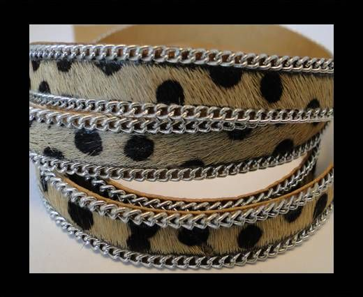 Hair-on leather with Chain - Dalmatian Brown - 10mm