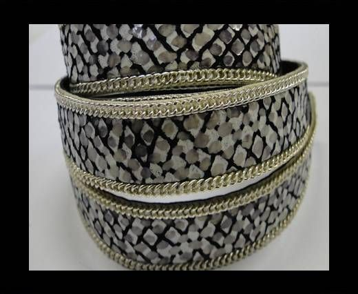 Hair-on leather with Chain - 14 mm - Black and white python