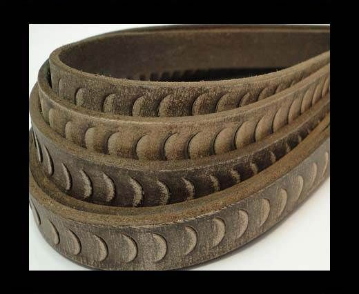 Vintage Style Flat Leather-Fish Style-14mm-Dark Brown