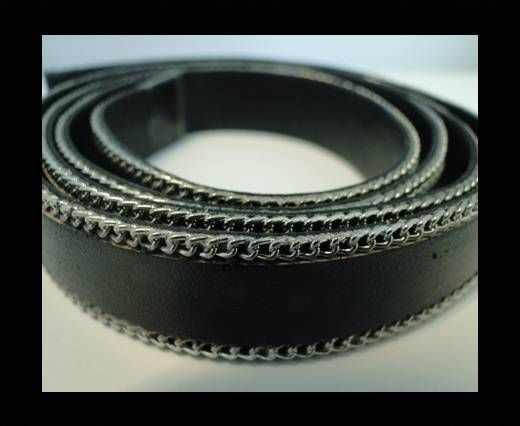 Flat Leather with Chain- Black-10mm