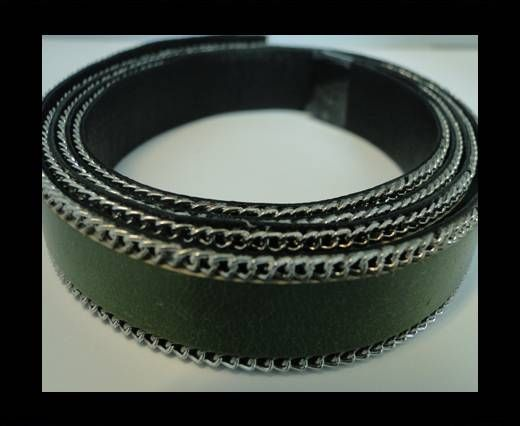Flat Leather with Chain- Hunter Green-10mm