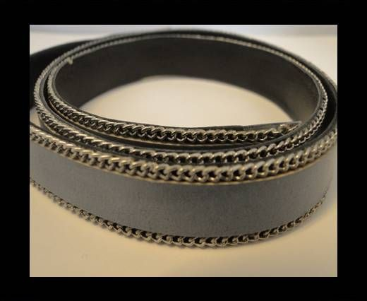 Flat Leather with Chain- Light Grey-10mm