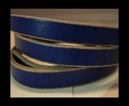Flat Leather- Natural Edges -Blue-10mm