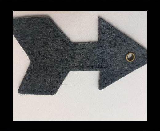 KC-Key Cord Arrow Shape 8cm dark grey hair-on