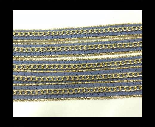 Leather with 3 chains-10mm-Blue