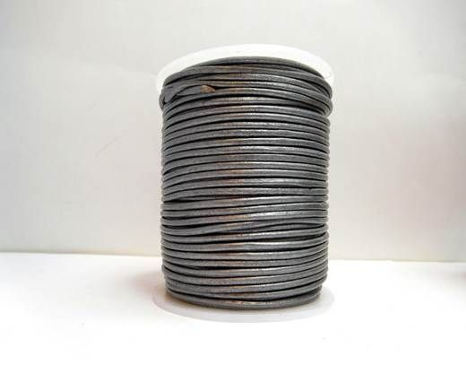 Round leather cord-2mm-M. Dark Silver