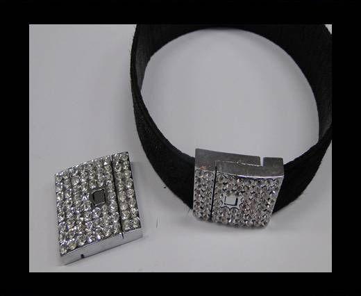 Zamak magnetic clasp MGL-233-20*2,5mm Steel Silver