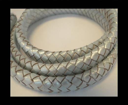 Oval Regaliz braided cords -10mm-Metallic Baby Blue