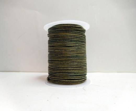 Round Leather Cord-1,5mm-Natural dark green
