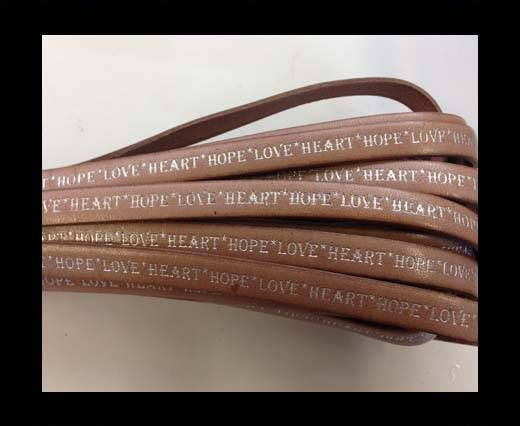 Real Flat Leather-10mm-Hope Love Heart style-natural -silver