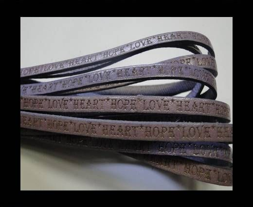 Real Flat Leather-5MM-Hope Love Heart style-lilla