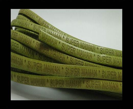 Real Flat Leather-SUPER MAMAN-Green 5 mm