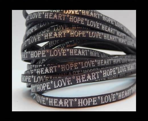 Real Flat Leather-10mm-Hope Love Heart style-grey with silver