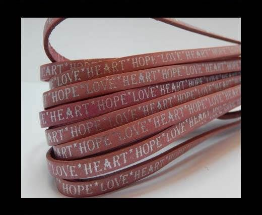 Real Flat Leather-10mm-Hope Love Heart style-Pink with Silver