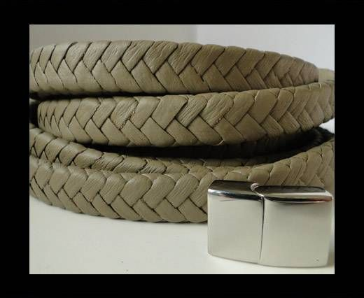 Real Nappa Flat Woven Cords - 15 mm - Army green