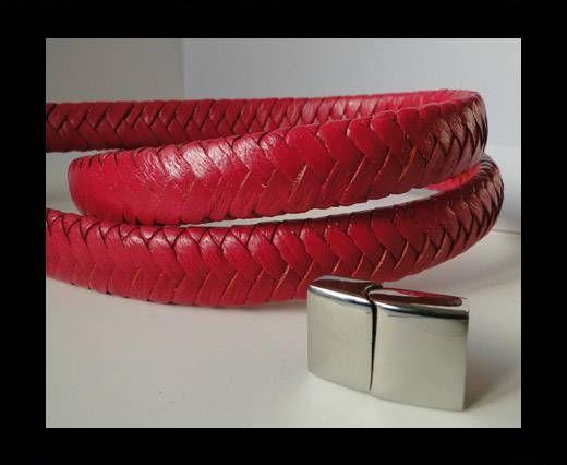 Real Nappa Flat Woven Cords - 15 mm - Dark Pink